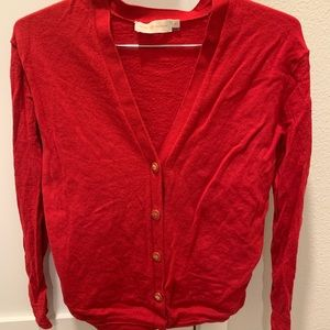 Tory Burch red wool cardigan